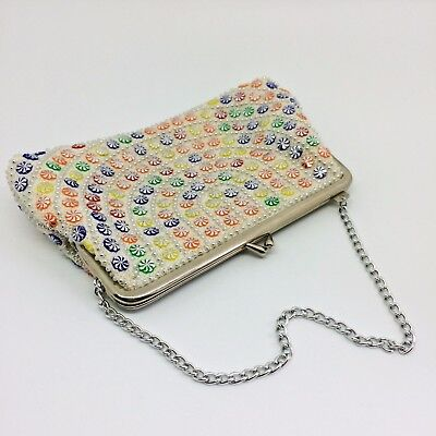 Vintage 1960's Cream and Rainbow Bead Framed Evening Bag Made in Hong Kong