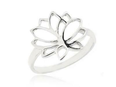 Lotus Flower Ring For Women 925 Silver Retro Style Prevent Allergy Size 5-12