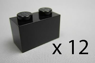A8630. 12, Lego 1 x 2 Bricks - Black