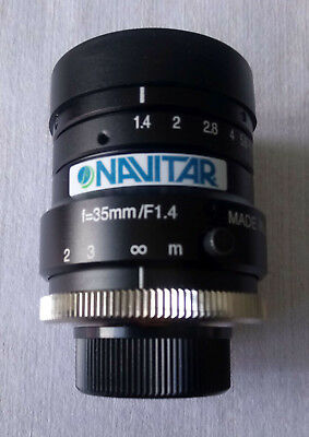 Navitar f/1.4 camera lens, 35 mm focal length, C-mount, CCTV, machine vision