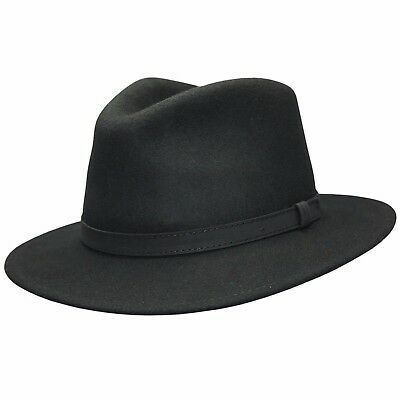 Gents Crushable Black 100% Wool Felt Fedora Trilby Hat With Leather Type  Band fedc2b8dc1ff