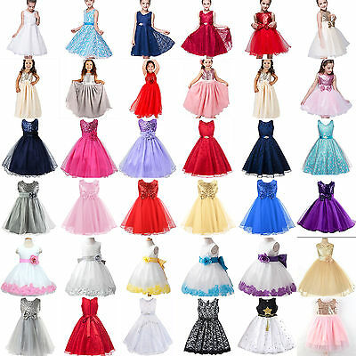 Girls Kids Flower Princess Formal Dress Party Wedding Pageant Prom Tutu Dresses