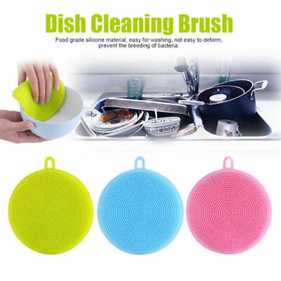 Silicone Dish Washing Sponge Scrubber Kitchen Cleaning antibacterial Tool New#