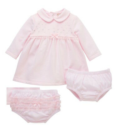 Girls Pink Traditional Sparkle Diamonte Dress Pants Headband Set NB-18 Months