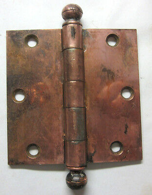 "1 GM Antique Square 3-1/2"" Copper Plated Mortise Door Hinge Ball Tip Finial"