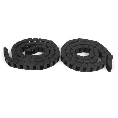 10mm x 15mm Machine Tool Plastic Cable Drag Chain Wire Carrier 105cm Length 2pcs