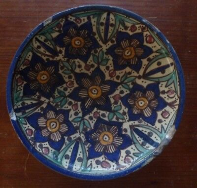 Middle Eastern polychrome pottery bowl, 19th. century