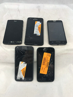 Lot of 5 Broken/Cracked Cell Phones LG/Samsung/Galaxy/ZTE/Kyocera For Parts