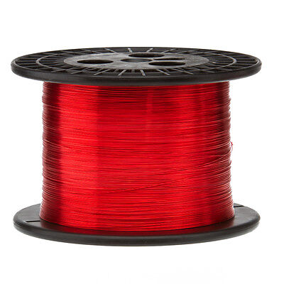 "24 AWG Gauge Heavy Copper Magnet Wire 5.0 lbs 3950' Length 0.0223"" 155C Red"