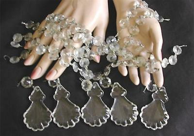 Cut Crystal Prisms From Old Glass Chandelier Round and French Pendant Drops