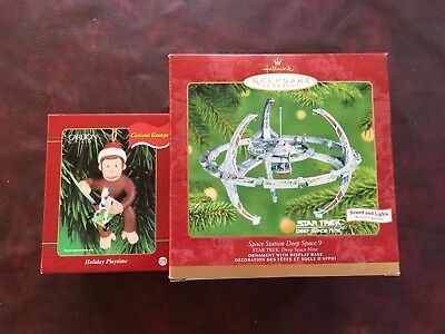 Hallmark Curious George and Space Station Deep Space 9 Ornaments