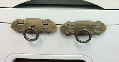 Pair of Vintage Antique Brass  Ring Drawer Pulls Cotter Pin Cabinet Handle Knob