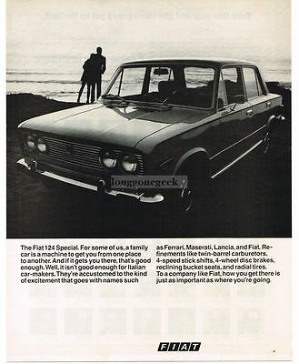 1970 FIAT 124 Special On The Beach VTG PRINT AD