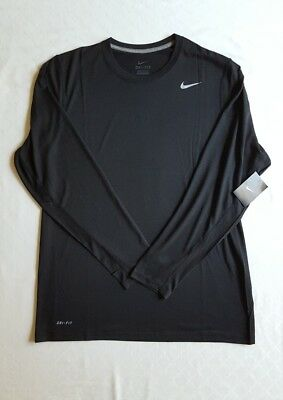 Men's NIKE Dri-Fit Workout Shirt- Long Sleeve- Sz L- BLACK- NEW with TAGS