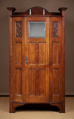 Antique 20th.c. Arts & Crafts Oak Wardrobe Or Hall Robe c.1910