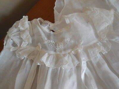 2 Vintage Handmade Baby Gowns & 1 Slip  - Eyelet & Lace