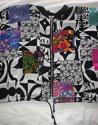 Tangibles 80s Black White Patch Work Pattern Sequin Over Sized Jacket Vintage