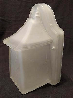 Antique Frosted Glass Mission Arts and Crafts Sconce Slip Shade Light Fixture