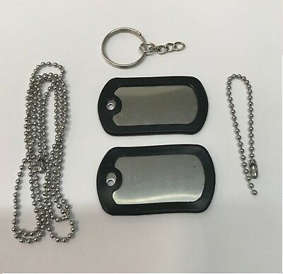 Lot 5 BLANK DOG TAG SET STAINLESS STEEL MILITARY SPEC SILENCER  BALL CHAIN