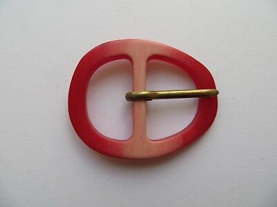 1960s Vintage Med Oval Light & Dark Orange Ladies Belt Dress Buckle-5.5cm