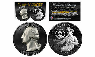 Black RUTHENIUM 2-Sided 1976 Bicentennial Quarter w/Genuine .999 SILVER Features