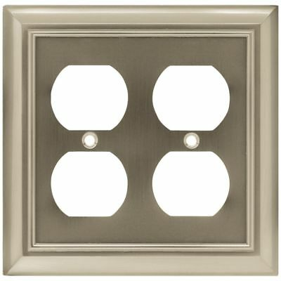 Architectural Brushed Satin Nickel Double Duplex Outlet Switch Plate Brainerd