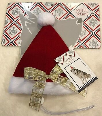 Dog Santa or Mrs. Claus Hat - M/L - Adjustable - Red Velour - Christmas - NWT