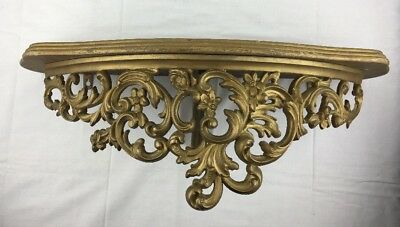 "Vtg 23"" L  Wood & Gold tone Burwood Wall Shelf Ornate Floral Distressed Regency"