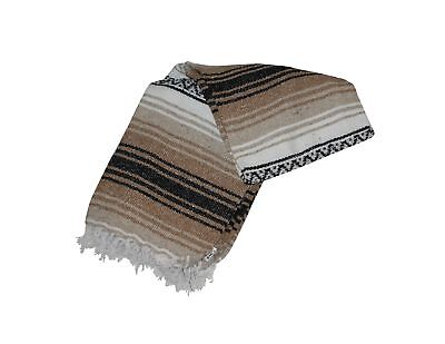 Authentic Mexican Falsa Blanket Hand Woven Mat Bed Blanket 76 L X 53 W Brown