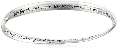 "Sterling Silver ""Lord's Prayer"" Bangle Bracelet, 8.75"""