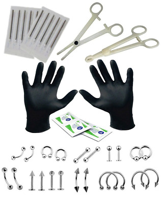 Professional Piercing Kit 35 Pieces for Belly Tongue Ear Eyebrow Nipple Lip Nose