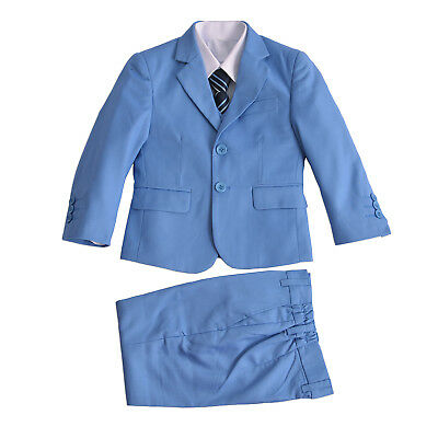 Boys Formal Light Blue Suits Wedding PageBoy Party Prom 5 Piece Suit 2-12 Years