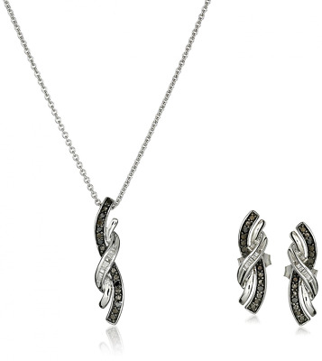 Sterling Silver Black and White Diamond Twist Shape Pendant and Earrings Box Set