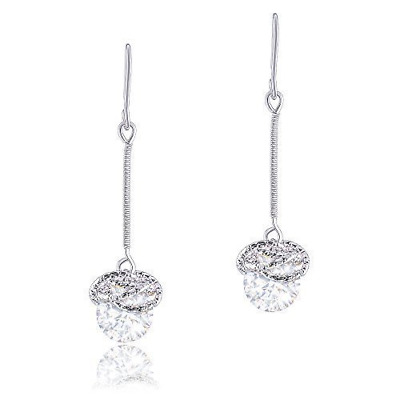 18k White Gold Plated Cubic Zirconia Twist Rings Drop Earrings (6.50 carats) by
