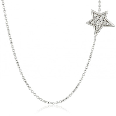 """Sterling Silver Diamond Star Necklace (1/10cttw, I-J Color, I2-I3 Clarity), 18"""""""