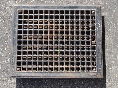 Vintage-Stamped-Steel-Floor-Heat-Grate-Register-Vent-Old-Hardware-