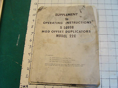 Supplement to Operating Instructions MGD OFFSET DUPLICATORS MODEL 22C