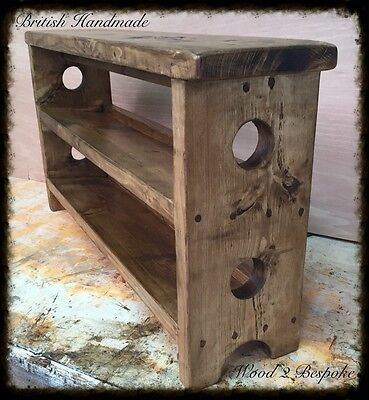 Bench With Double Tilted Shoe Rack - Hand Made Rustic Pine Wood Bench