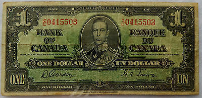 1937 Canada One Dollar Banknote P.58.d Signatures Gordon-Towers SB3913