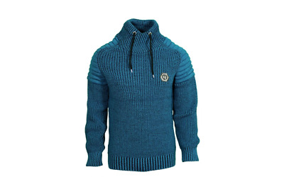 LCR Men/'s Fashion Sweater Jumper Knit Cardigan Color Navy//Blue 5425
