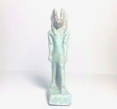 Rare Ancient Egyptian  Faience  AMULET of ANUBIS New Kingdom (1549–1069 BC)