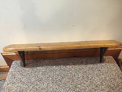 Antique Country Wooden Shelf with Cast Iron Brackets