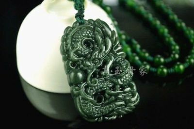 Natural Green Hand-carved Chinese Hetian Jade Pendant - Dragon-Free Necklace%