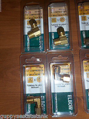 Lot of 4 LDR 1/4 Compression x 1/4 MIP 90 Deg Brass Pipe Elbow # 508 69-4-4 BF96