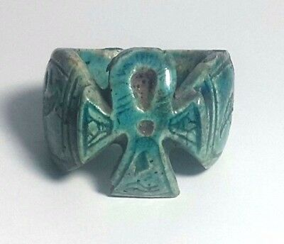 RARE ANCIENT EGYPTIAN GLASS FAIENCE RING c New Kingdom (1549–1069) BC