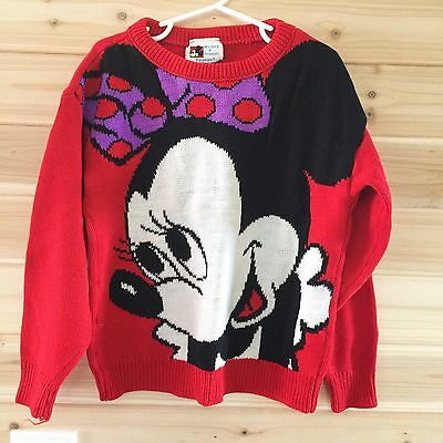 Vintage 7/8 Minnie Mouse Sweater Mickey & Friends Knit Red Purple Disney