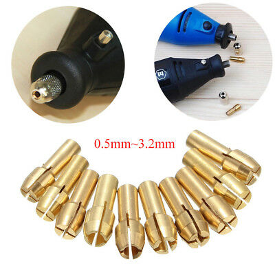 10pcs 0.5~3.2mm Brass Drill Chuck Collet Nut Set 4.8mm Bits For Rotary MultiTool