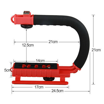 AS_ C-Shape Stabilizing Handle Bracket with Hot Shoe for GoPro DV Camcorder Eage