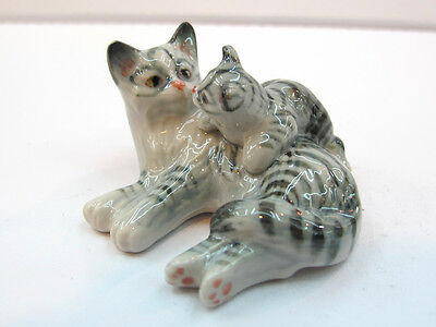 Hand Painted Miniature Collectible Ceramic Porcelain Tiger Cat FIGURINE Animals