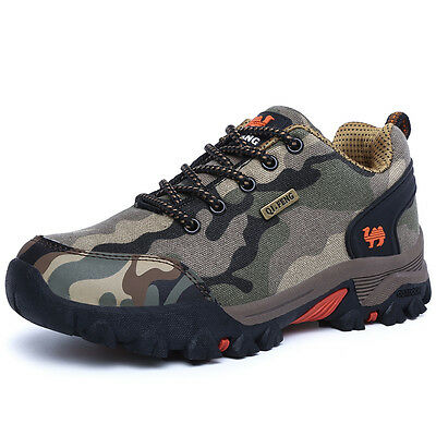 Men's Walking Hiking Trail Canvas Waterproof Camouflage Shoes Size 7 8 8.5 9 9.5